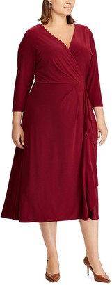 Chaps Plus Size Midi Faux-Wrap Dress
