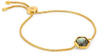 Katie Belle Rosina 18ct Gold Vermeil Hexagon Gemstone Bracelet - Labradorite