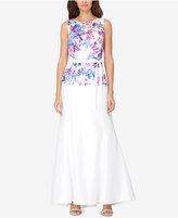 Tahari Asl Floral-Print Sash Gown