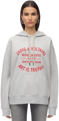 Zadig & Voltaire Embellished Logo Cotton Jersey Hoodie