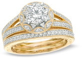 Zales 1-3/8 CT. T.W. Diamond Vintage-Style Bridal Set in 14K Gold
