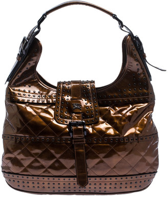 Burberry Bronze Quilted Patent Leather Studded Hobo