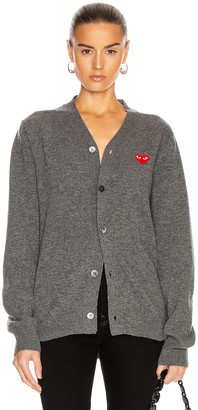 Comme des Garcons Lambswool Cardigan with Red Emblem in Medium Grey | FWRD