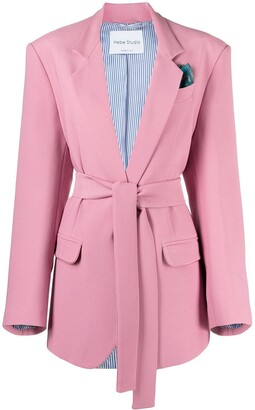 Hebe Studio Tied-Waist Single-Breasted Blazer