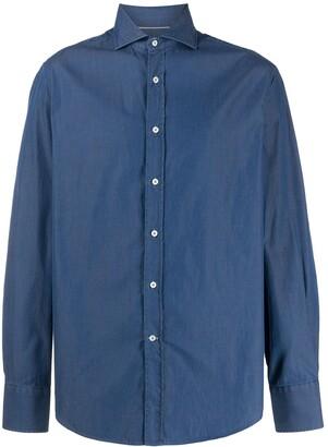 Brunello Cucinelli Spread-Collar Chambray Shirt
