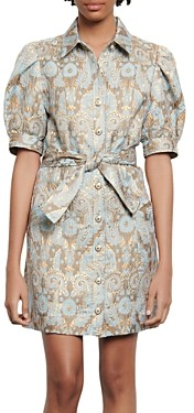 Sandro Orlan Metallic Jacquard Dress
