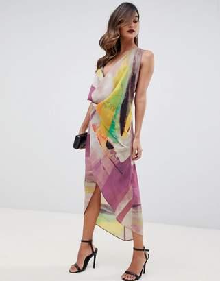 Asos Design DESIGN sleeveless drape fold neck midi dress in abstract print-Multi