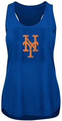 Women's Heathered Royal New York Mets Plus Size Racerback Tank Top