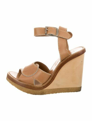 Chloé Leather Platform Wedges Tan