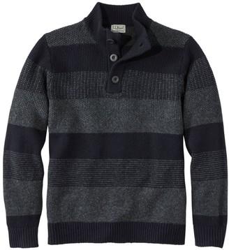 L.L. Bean L.L.Bean Men's Washable Lambswool Sweater, Button Mock, Stripe