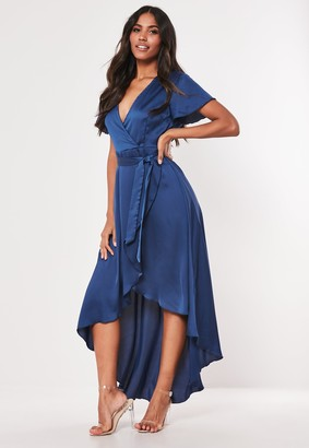 Missguided Navy Satin High Low Wrap Midi Dress