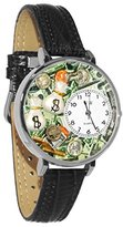Whimsical Watches Women's U0610031 Unisex Silver Banker Black Leather And Silvertone Watch