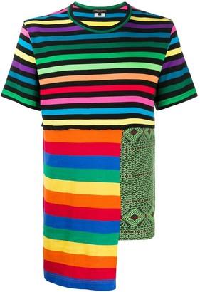 Comme des Garcons rainbow-stripe patchwork T-shirt