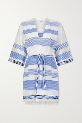 Lemlem Mizan Fringed Jacquard-trimmed Striped Cotton-blend Gauze Robe - White