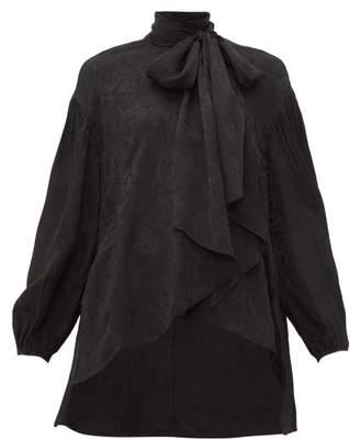 Chloé Crinkled Flower-jacquard Pussy-bow Blouse - Womens - Black