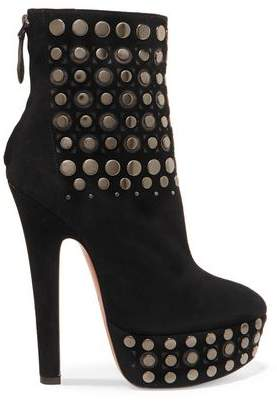 Alaia Studded Laser-cut Suede Platform Ankle Boots