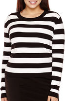 BELLE + SKY Long-Sleeve Striped Bodycon Top - Plus