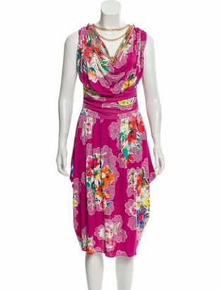 Dolce & Gabbana Floral Midi Dress Magenta