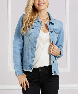 Suzanne Betro Women's Denim Jackets 101LIGHT - Light Wash Fray-Hem Denim Jacket - Women & Plus