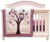 Baby's First Plum Owl Meadow 4 Piece Crib Bedding Set