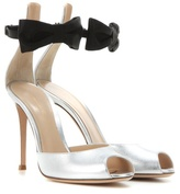 Gianvito Rossi Metallic leather and satin sandals