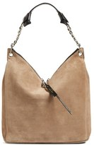 Jimmy Choo 'Raven' Suede Shoulder Bag - Beige