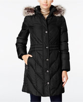 London Fog Petite Faux-Fur-Trim Long Down Coat