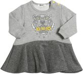 Kenzo Logo Embroidered Cotton Sweatshirt Dress