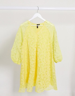 Y.A.S smock dress with puff sleeves in yellow floral