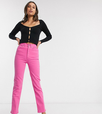 Asos Tall ASOS DESIGN Tall high rise 'stretch' straight jeans in bubblegum pink