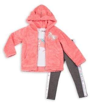 Little Lass Little Girl's 3-Piece Faux-Fur Plush Jacket Set