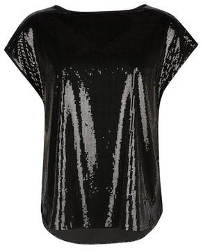 Dorothy Perkins Womens Black Sequin T