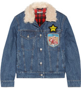 Miu Miu Faux Shearling-trimmed Appliquéd Denim Jacket - Mid denim