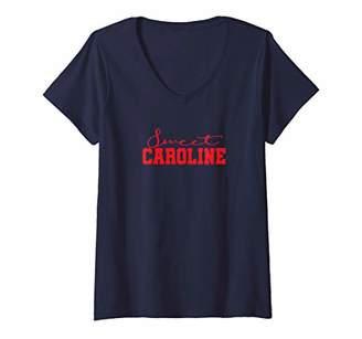 Womens Sweet Caroline Script R V-Neck T-Shirt