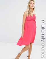 Mama Licious Mama.licious Mamalicious Disa Maternity Dress With Dip Hem And Lace Top