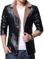URBANFIND Men's Slim Fit Fur Neck Lined PU Leather Jacket US XXS