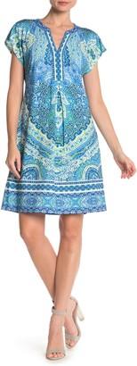Hale Bob Patterned Short Sleeve Shift Dress