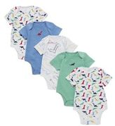 F&F 5 Pack of Dinosaur Short Sleeve Bodysuits, Infant Boy's
