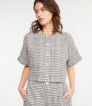 Lou & Grey Rainbow Gingham Linen Cropped Shirt