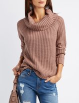 Charlotte Russe Shaker Stitch Cowl Neck Sweater