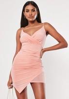 Missguided Blush Strappy Slinky Wrap Bodycon Mini Dress