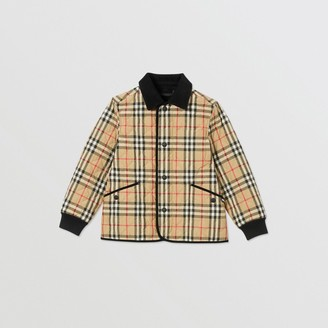 Burberry Childrens Corduroy Trim Vintage Check Diamond Quilted Jacket