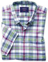 Charles Tyrwhitt Slim Fit Poplin Short Sleeve Pink and Green Check Cotton Shirt Single Cuff Size XS