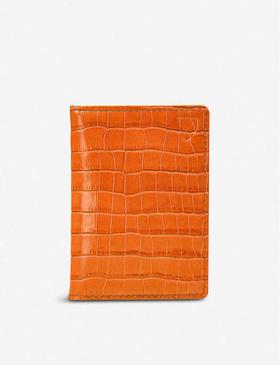 Aspinal of London Double Fold croc-embossed leather cardholder