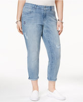 Jessica Simpson Trendy Plus Size Ripped Cropped Skinny Jeans