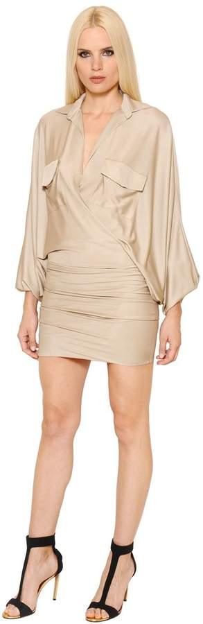 Alexandre Vauthier Batwing Sleeves Shiny Jersey Dress