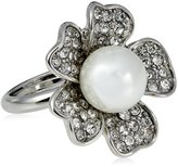 Kenneth Jay Lane Silver, Crystal and Cultura Pearl Center Flower Ring