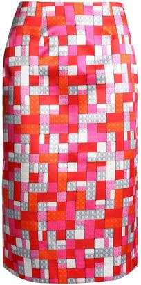 Mary Katrantzou Sigma Floral-print Faille Pencil Skirt
