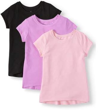 Garanimals Short Sleeve Solid T Shirt, 3pc Multi-Pack (Toddler Girls)
