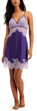 INC International Concepts Inc Satin Lace Chemise Nightgown, Created for Macy's